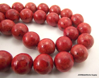 Red Sponge Coral Round Beads, 9 - 10 mm Round Beads, 15 Inch Strand, Whole Strand