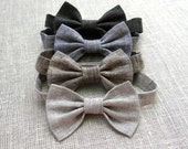 Boy linen bow tie Wedding party ring bearer bow tie baby boy first birthday accessories neck tie butterfly kids rustic bow tie man toddler