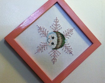 Pink Snowman Beaded Cross stitch Picture