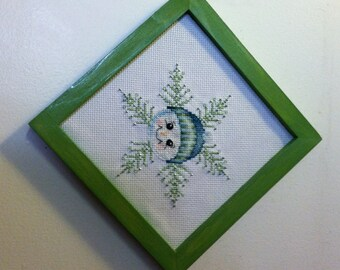 Green Snowman Beaded Cross stitch Picture