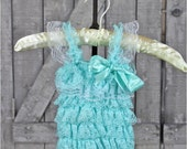 AQUA lace petti romper, lace romper, photo prop, birthday outfit, romper with sleeves