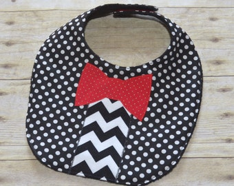 Baby's Night Out Bow Tie Bib in Black and White and Red