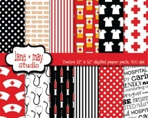 digital scrapbook papers - black and red nursing theme patterns - INSTANT DOWNLOAD
