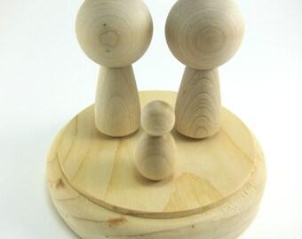 Kokeshi Doll Cake Topper Set | DIY Unfinished Wood Cake Topper with Dog - Wooden Peg Doll Set with Wooden Base and 1 Pet