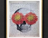 "Skeleton Art Print, Orange Mums"" Skeleton Humor, Skull Print, Skull Decor, 8x10 Vintage Dictionary page, Dictionary art, Dictionary print"