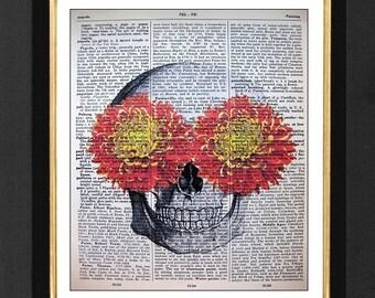 Skeleton Art Print, Skeleton Print, Skeleton Humor, Skull Print, Skull Decor, 8x10 Vintage Dictionary page, Dictionary art, Dictionary print