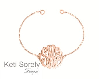 14K Solid Rose Gold Initials Monogrammed Bracelet (Order Any Initials) - Small To Large Size