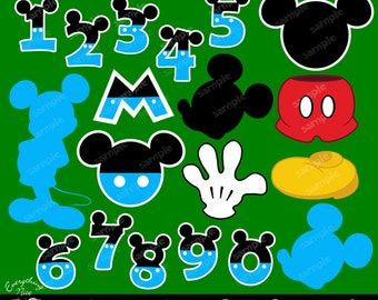 Mickey Mouse Blue Clipart Set