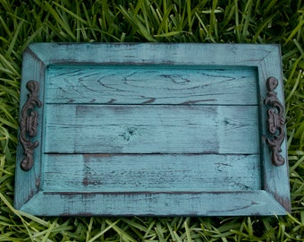 Decorative / Serving Tray - Aqua Distressed with Black Glaze Topcoat