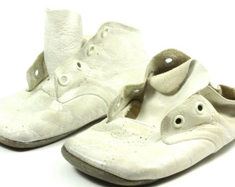 Sweet Shabby Chic Country Cottage Decor Pair Of Little White Worn Leather Baby Shoes - Nursery Decor