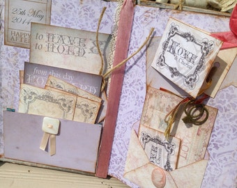 Unique Wedding Guest Book - Shabby chic rustic theme - 60 pages