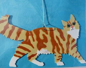 Metal Long-Hair Orange Tiger Cat Ornament