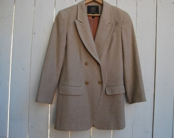 CAMEL PEACOAT Winter Sportscoat Wool Button Down Blazer Coat