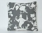 Piped Smoke Grey Shantung Silhouette Pillow Cover -Schumacher Fabric