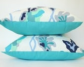 Two Quadrille Potala Outdoor Pillow Covers with Blue, Teal and Turquoise Sunbrella Backing