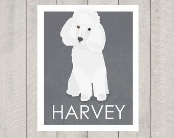 White Miniature Poodle Art Print - Custom Dog Art