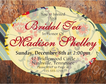Bridal Tea/ Luncheon/ Shower Invitation- 5x7, 4x6 DIY Printable