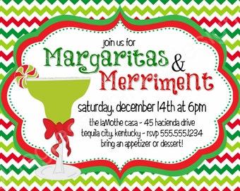 Margaritas & Merriment Holiday Party Invitation- DIY Printable