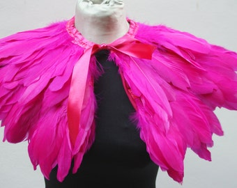 Pink  feathers shall.Shoulders  Feathers cape . gothic decadence costume ,vintage capelet .