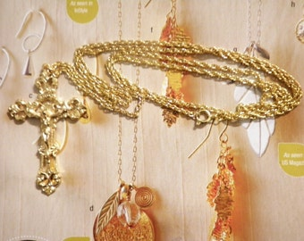 "1 Goldplated Crucifix on a 24"" Goldplated Chain"