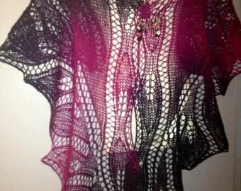 wool shawl knit black hand - fuchsia