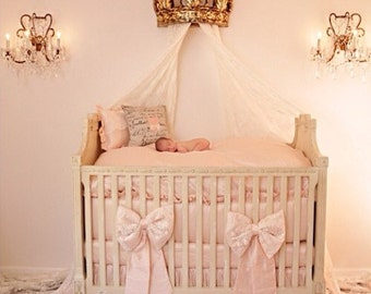 THE LONDON:Silk and Lace Crib Bedding, Crib Bedding Set,Nursery, Nursery Bedding, Baby, Baby Accessories, Baby Shower, Baby Gift. Baby Girl