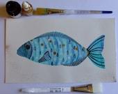Fish Watercolor Ink Fish Still Life Fish Decor Blue Fish Fine Art Watercolor Animal Nature Fish Painting Fish Wall Art Contemporary Art Fish