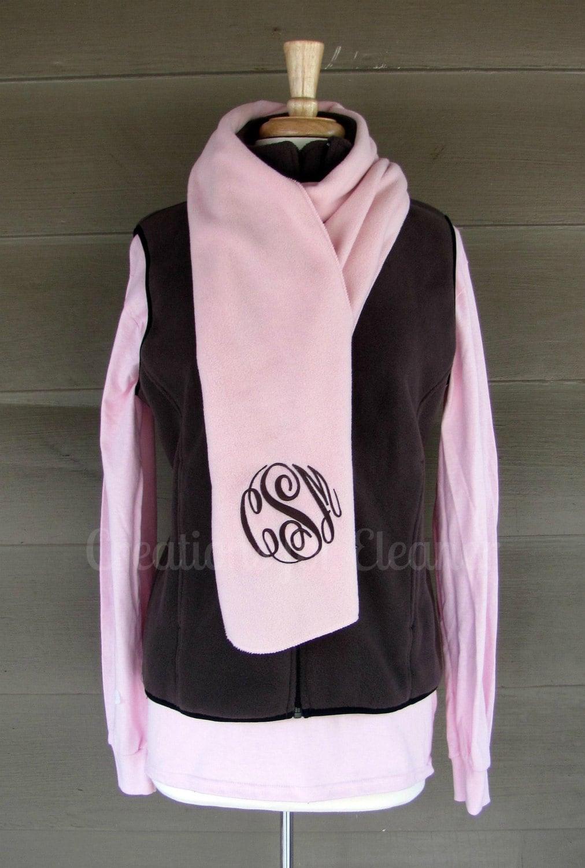 monogram scarf s monogrammed fleece scarf s