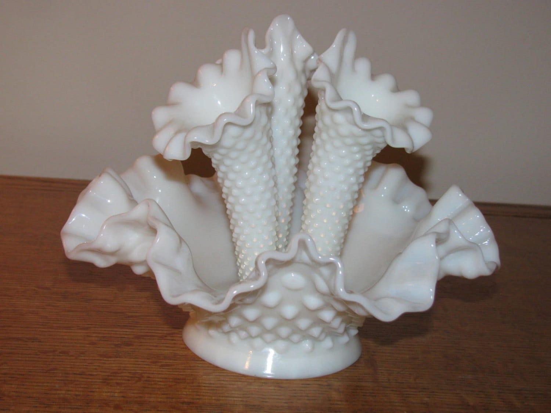 Vintage Fenton Hobnail Milk Glass White Epergne Vase 3 Horn