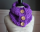PURPLE Cowl Scarf with 3 wooden buttons, crocheted