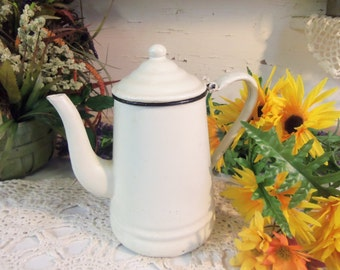 Vintage Graniteware Tea Pot White Rustic Primitive Small  B165