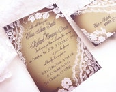 Elegant wedding invitation - Romantic Lace wedding invitations {Bellevue, Smokey version}