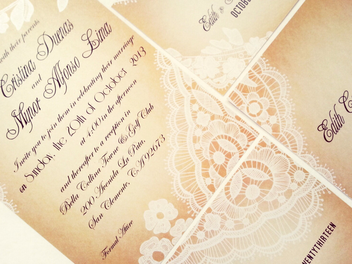 Lace Wedding Invitation: Vintage Lace Wedding Invitation Wedding Invitation Sample