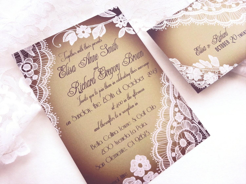 Wedding Invitations Elegant: Elegant Wedding Invitation Romantic Lace Wedding Invitations