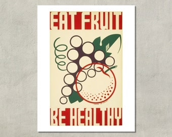 Eat Fruit Be Healthy WPA Poster, 1937 - 8.5 x 11 Poster Print - also available in 11x14 and 13x19 - see listing details