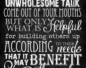 Scripture Art - Ephesians 4:29 Chalkboard Style