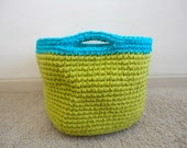 CLEARANCE - Neon Lime Green and Blue Crochet Basket