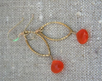 Hazel Earrings: Luscious carnelian drops on gold plated marquise links and 14k gold fill ear wires