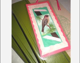 Bird Laminated Bookmark Antique Aviary Illustration Scrapbooked  - Kirtland Warbler