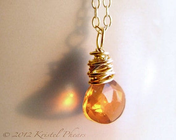 Citrine Necklace - November Birthday Gift, Madeira citrine 14k gold-filled natural faceted gemstone briolette orange simple