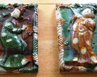Rare 2 Old Antique Chinese MING DYNASTY Dragon Glazed Ceramic Tile Tiles