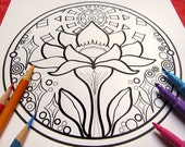 Lotus in the Sun Mandala Coloring Page (single page) to print and color - Instant download PDF - Plus Coloring Tips