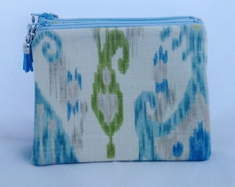 Ikat Zipper Pouch Clutch Summer Tassel Blue and Green