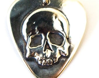 Silver Guitar Pic Skull Pendant