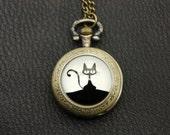 Necklace Pocket watch black cat