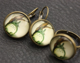 All earrings and ring totoro, green