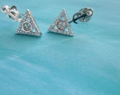 Berber symbol Moroccan earrings studs in sterling silver white plated gold with crystal embellishment