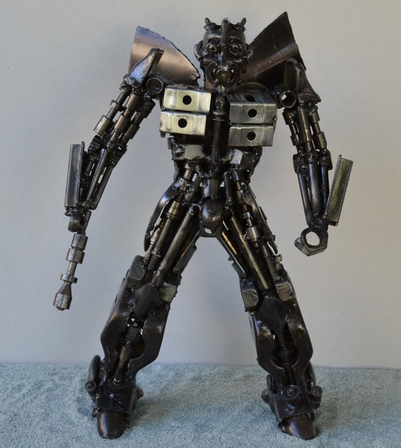 "Hand Made BUMBLEBEE  TRANSFORMERS 12""  Recycled Scrap Metal Sculpture"