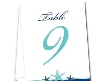 Starfish Border Table Tent Numbers