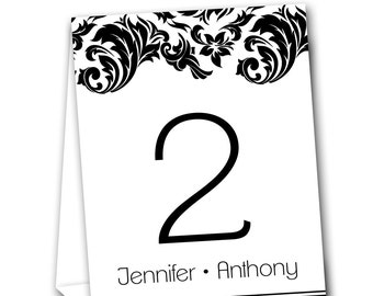 Damask Swirl Border Table Tent Numbers